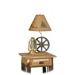 Rustic Wagon Wheel and Lantern Table Lamp