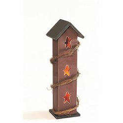 Rustic Primitive Pine Wood Indoor/Outdoor Standing Rustic star Cut Out Luminary