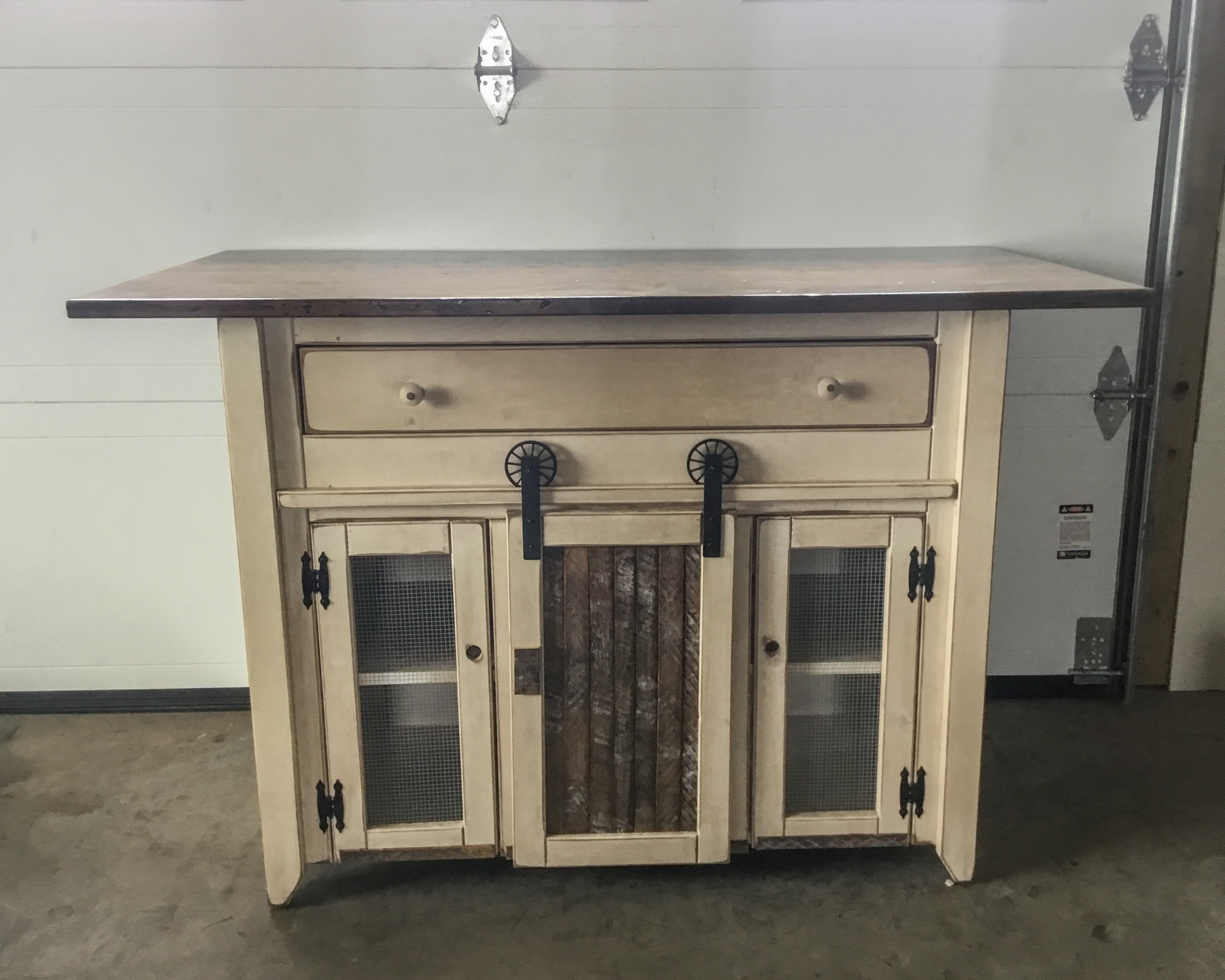 primitive kitchen island in counter height