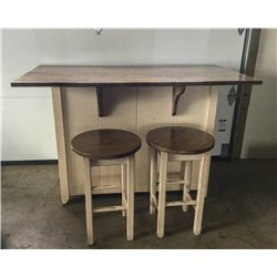 Primitive Kitchen Island in Counter Height with Barn Door and Stools