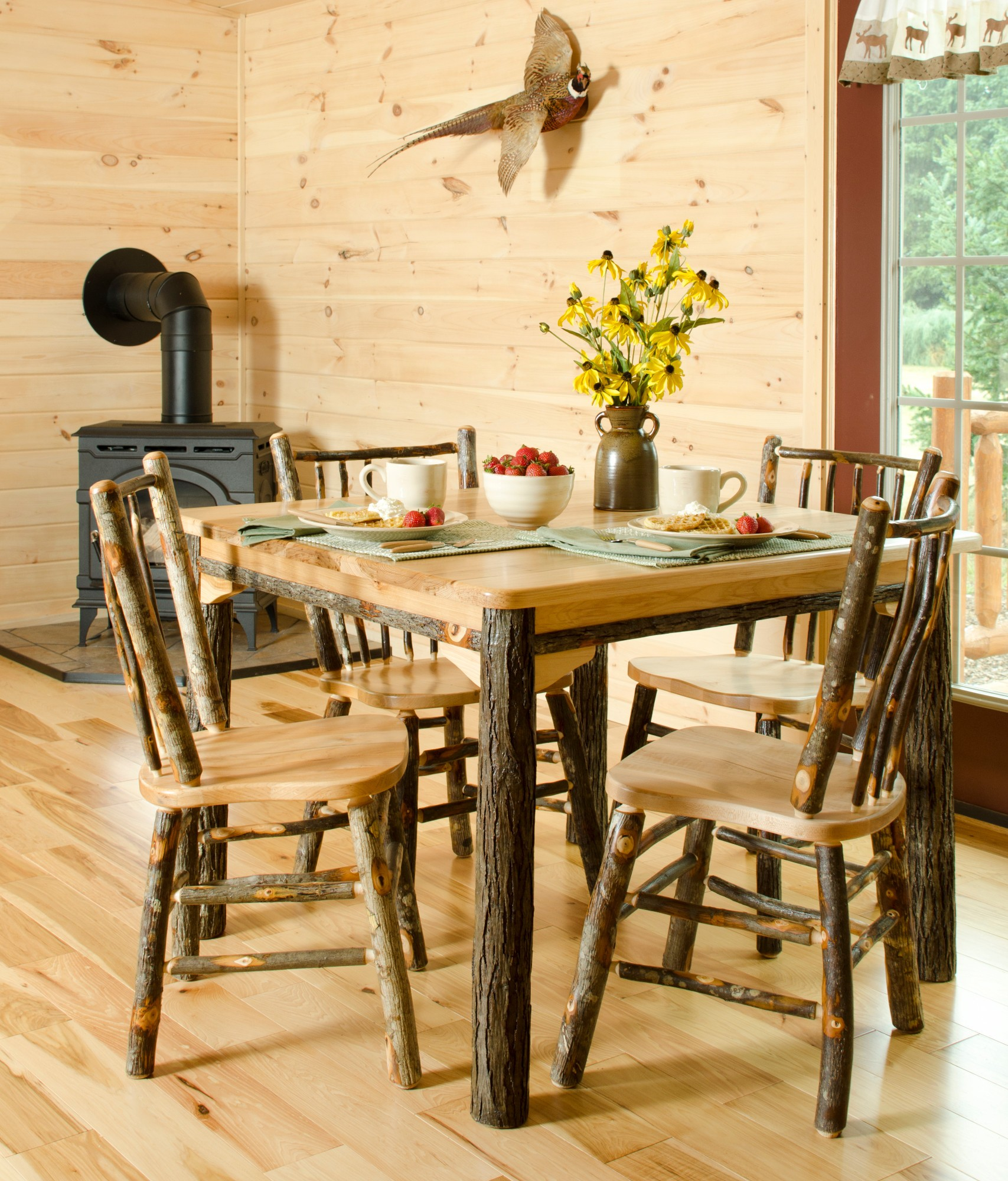 . Rustic Hickory Solid Top 60  Table with 6 Chairs