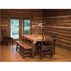 """Rustic Hickory Solid Top 60"""" Table with 4 Chairs and Bench"""