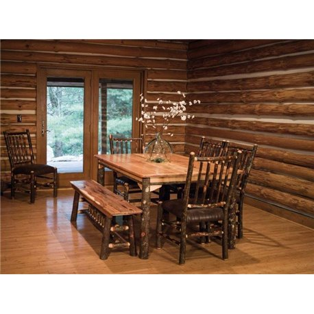 table 4 chairs and bench. rustic hickory solid top 60\ table 4 chairs and bench e