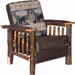 Rustic Hickory Log Chair with Faux Leather and Stud Accents