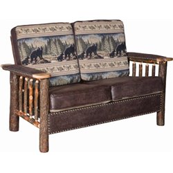 Rustic Hickory Log Love Seat with Faux Leather and Stud Accents