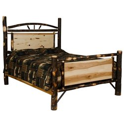 Rustic Hickory Log Panel Bed - Twin / Full / Queen / King