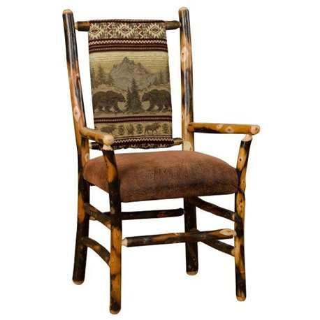 Set of Two Rustic Hickory Low Back Dining Chairs with Arms
