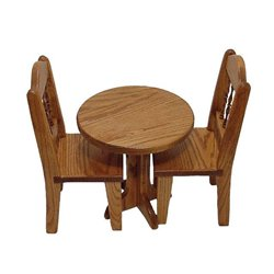 Toy Doll Oak Table and Chairs Set