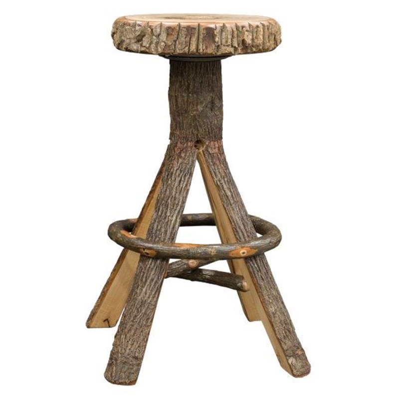 Rustic Hickory Split Log Bar Stool With Trunk Seat