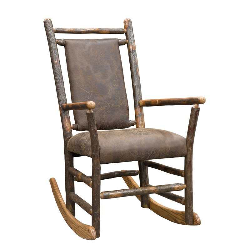 Rustic Hickory Rocking Chair with Faux Brown Leather Seat
