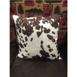Rustic Reversible Real Cow Hide with Faux Brown Leather Toss Pillow