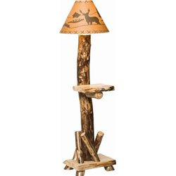 Rustic Aspen Log Floor Lamp with Shelf