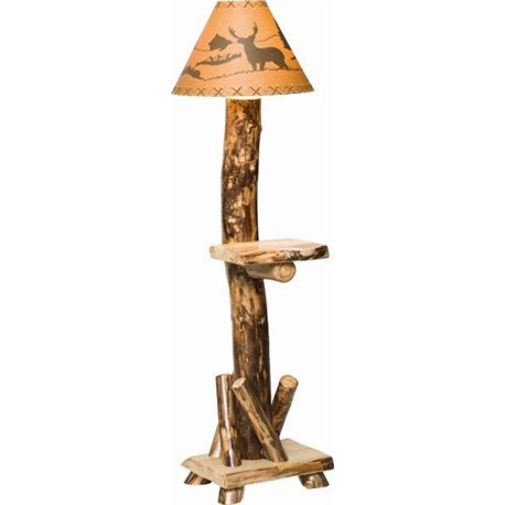 Aspen floor lamp with shade with shelf rustic aspen log floor lamp with shelf mozeypictures Image collections