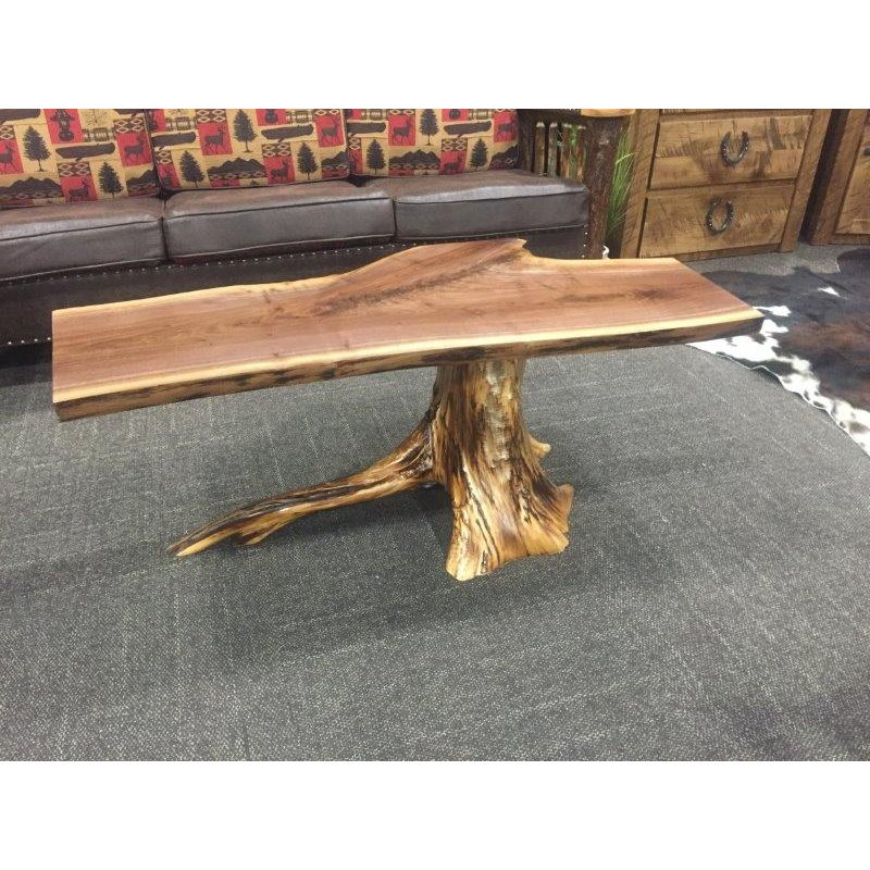White Tree Stump Coffee Table: White Cedar Stump Coffee Table With Walnut Top
