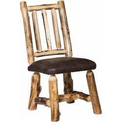 Set of 2 Rustic Aspen Dining Side Chairs with Padded Seat