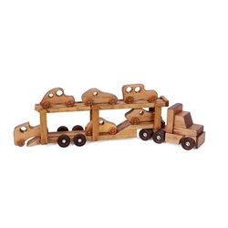 Wooden Car Carrier Truck with 6 Cars in Harvest Stain