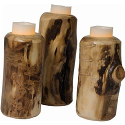Set of 3 Rustic Aspen Log Individual Candle Holders