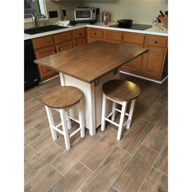 Counter Height Kitchen Island: Small Primitive Kitchen Island In Counter Height With 2 Stools