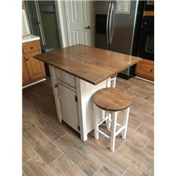Small Primitive Kitchen Island in Counter Height with 2 Stools