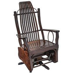 Brown Maple Flat Arm Swivel Glider in Rich Tobacco Stain