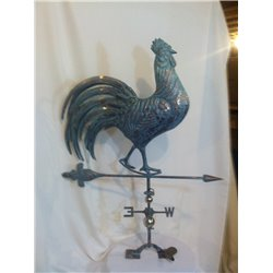 FULL BODY Oversize Outdoor Copper 3D STRUTTING ROOSTER - CHICKEN Weathervane - Patina Finish
