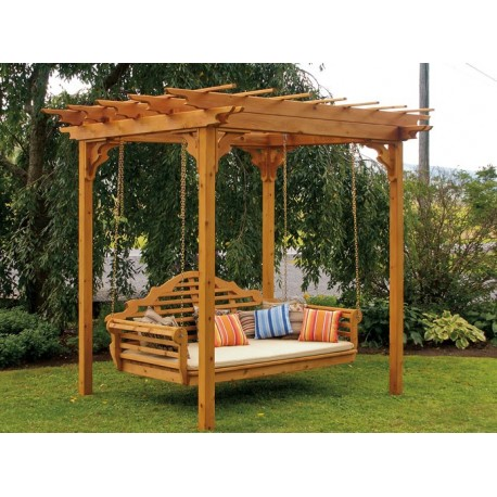 "6' x 8' Stained Western Cedar Pergola Set - Pergola, Marlboro Swing Bed, and optional 4"" mattress"