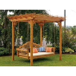 "8' x 8' Unfinished Western Cedar Pergola Set - Pergola, Marlboro Swing Bed, and optional 4"" mattress"