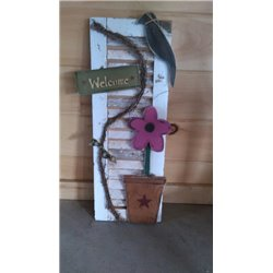 Primitive Spring Daisy Welcome Shutter - Pink