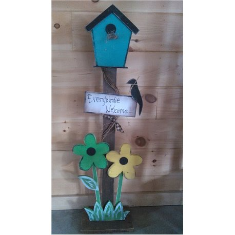 Primitive Decorative Rustic Decorative Bird House on Post  - Yellow & Green