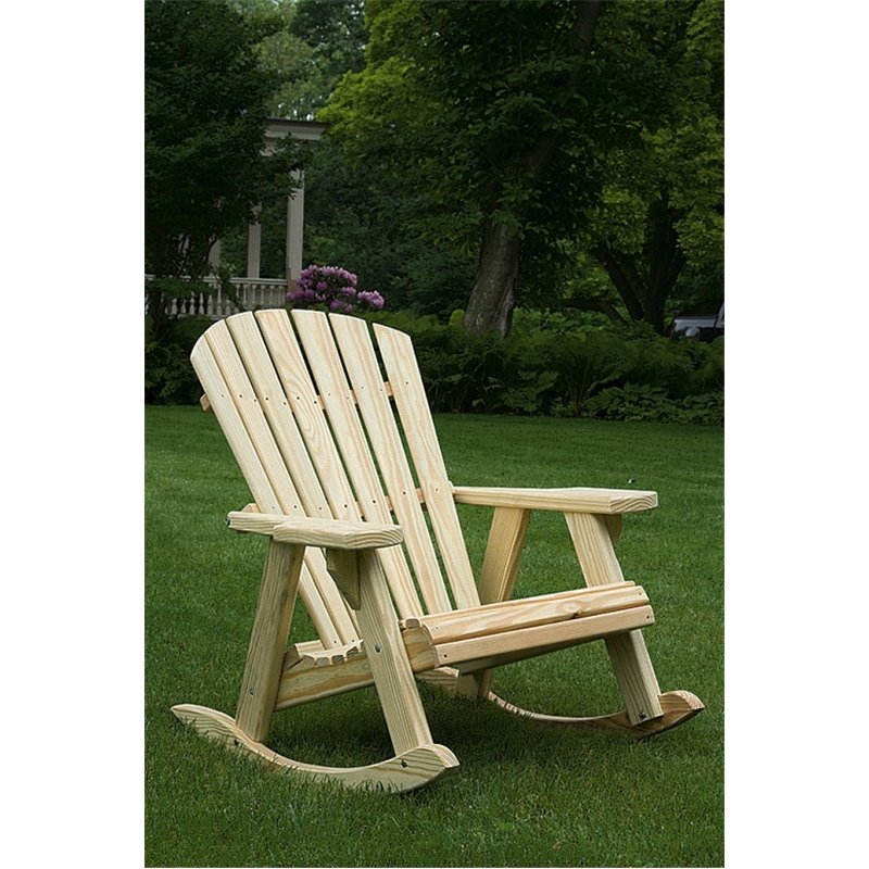 Pressure Treated Pine Adirondack Rocking Chair   Unfinished, Painted, Or  Stained