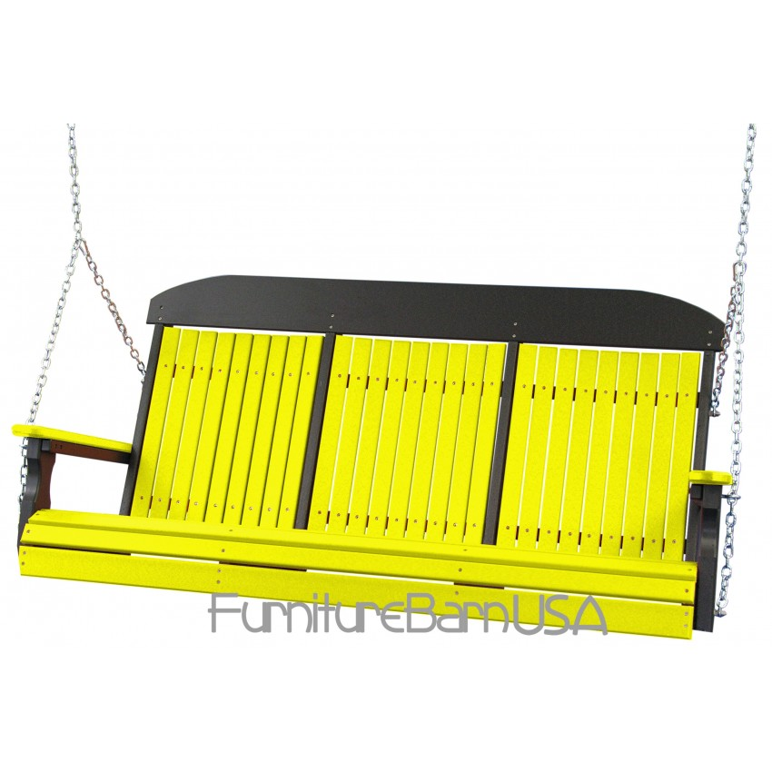 Poly 5 Foot Classic Highback Outdoor Porch Swing Yellow