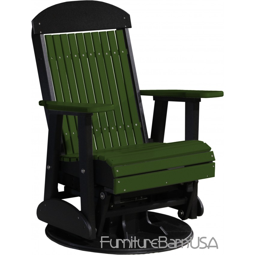 Poly Outdoor 2 Foot Highback Swivel Glider Bench Chair Green and Black