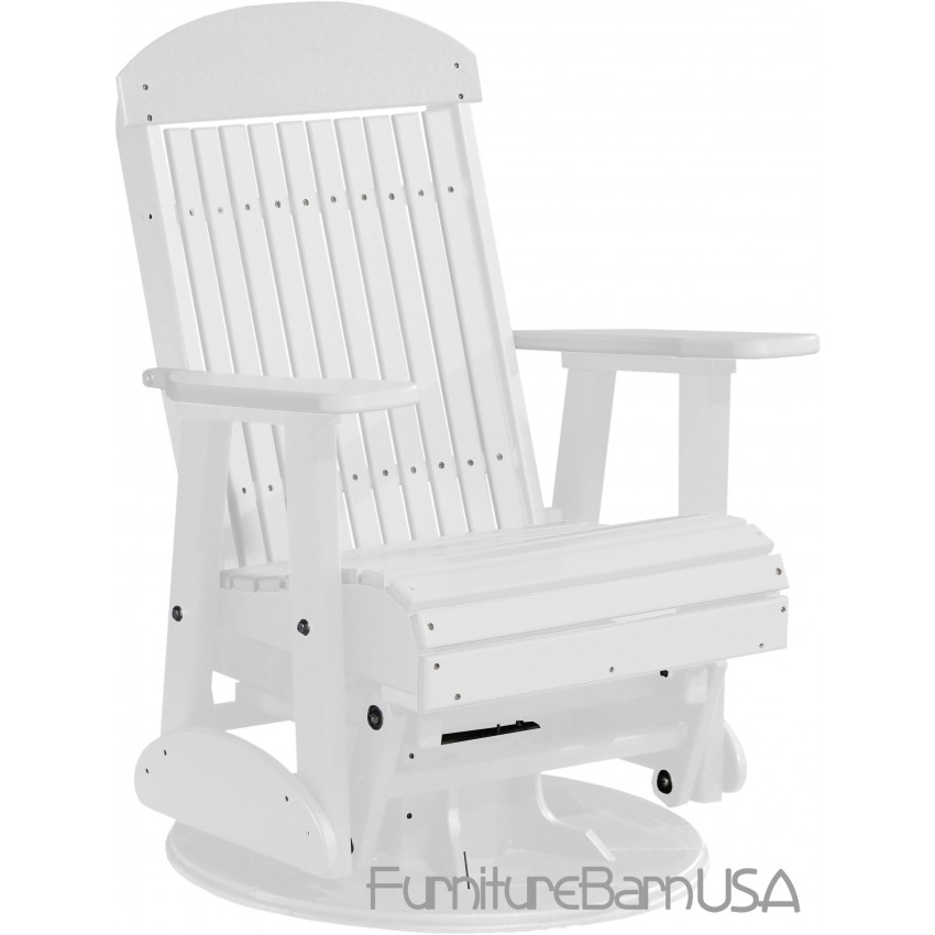 Poly Outdoor 2 Foot Highback Swivel Glider Bench Chair White