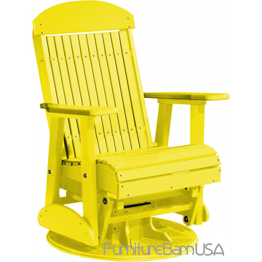 Poly Outdoor 2 Foot Highback Swivel Glider Bench Chair Yellow