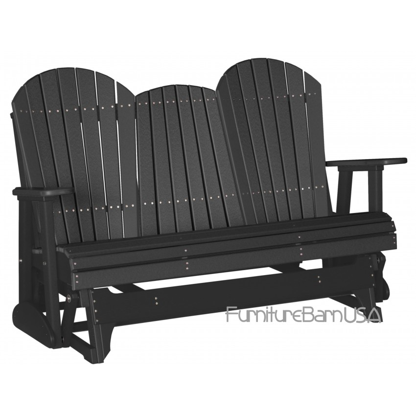 Poly Outdoor 5 Foot Adirondack Porch Glider Bench Black