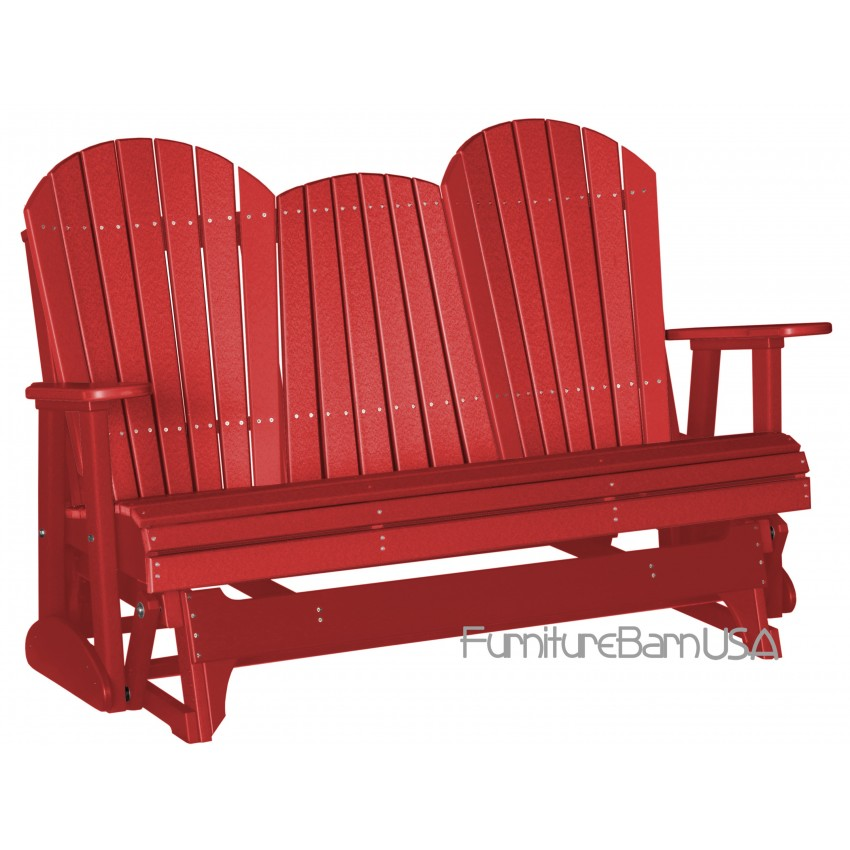 Poly Outdoor 5 Foot Adirondack Porch Glider Bench Red