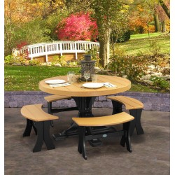 Poly Outdoor 4 Foot Round Table and 4 Benches - Dining Height