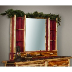 Rustic Red Cedar Log Hutch with Mirror