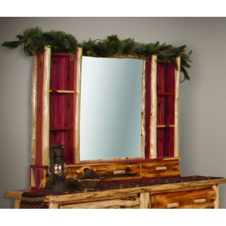 Rustic Red Cedar Log DRESSER HUTCH WITH MIRROR