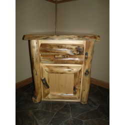 Rustic Aspen Log Nightstand- 1 Door and 1 Drawer
