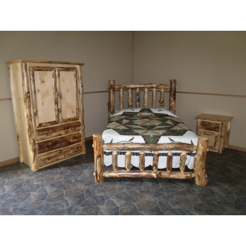 rustic aspen log complete bedroom set includes bed armoire