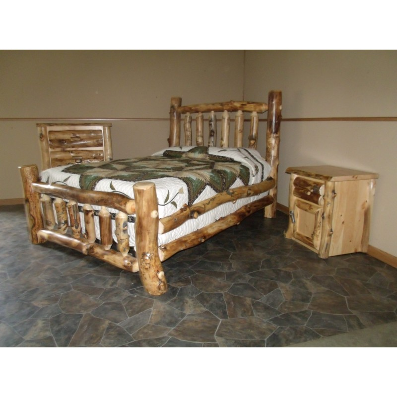 Rustic aspen log complete bedroom set - Log bedroom furniture ...
