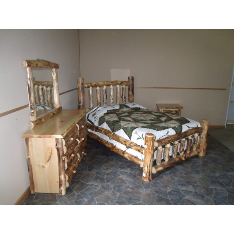 Rustic aspen log complete bedroom set for Rustic bedroom furniture suites