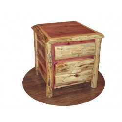 Rustic Red Cedar Log 2 Drawer End Table / Night Stand