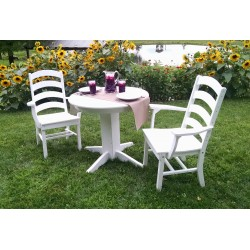 "Poly Lumber Wood Patio Set- 33"" Round Table and 2 Ladder Back Chairs"