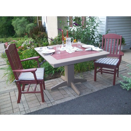 """Poly Lumber Wood Patio Set- 33"""" Square Table and 2 Classic Chairs with Arms"""
