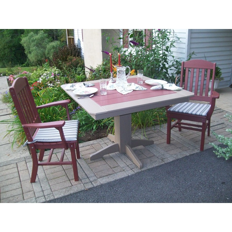 lumber wood patio set 33 square table and 2 classic chairs with arms