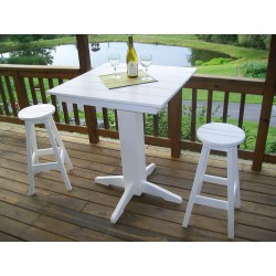 """Poly Lumber Wood Patio Set- 44"""" Square Bar Table and 4 Stools"""