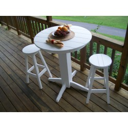 "Poly Lumber Wood Patio Set- 44"" Round Bar Table and 4 Stools"