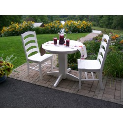 "Poly Lumber Wood Patio Set- 44"" Round Table and 4 Ladderback Arm Chairs"